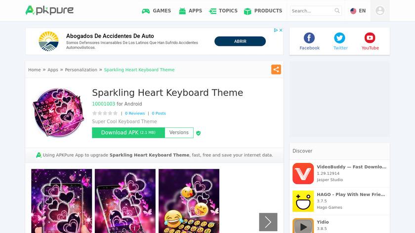 Sparkling Heart Keyboard Theme Landing Page
