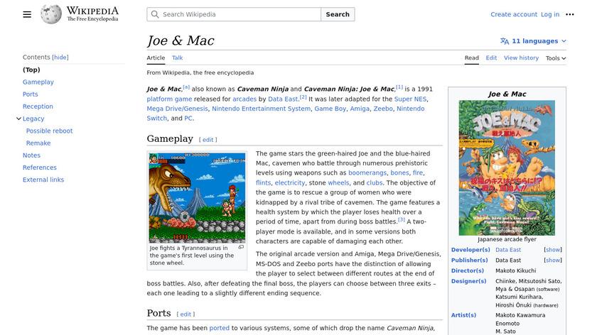Joe and Mac: Caveman Ninja Landing Page