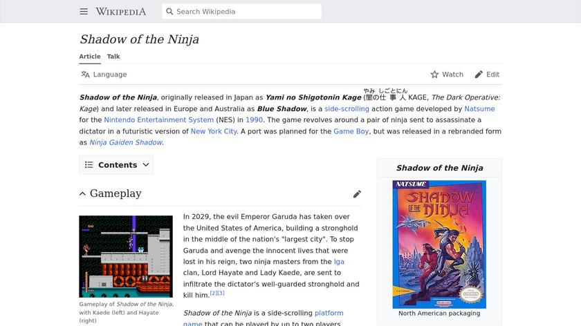 Shadow of the Ninja Landing Page