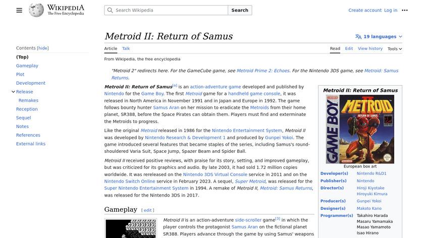 Metroid II: Return of Samus Landing Page