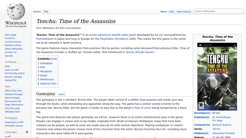 Tenchu: Time of the Assassins Landing Page