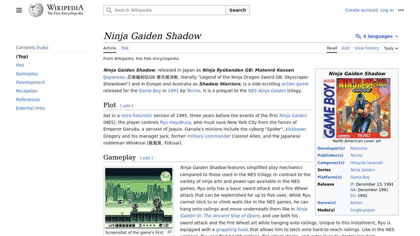 Ninja Gaiden Shadow Landing Page