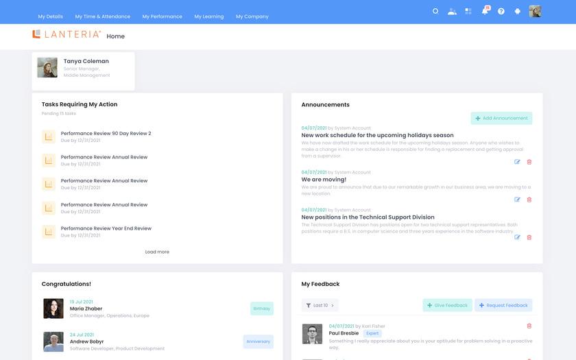 Lanteria HR Landing Page
