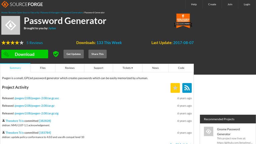 PWGen (Password Generator) Landing Page