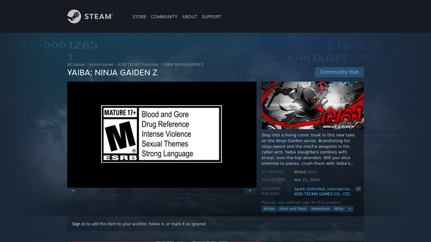 Yaiba: Ninja Gaiden Z Landing Page
