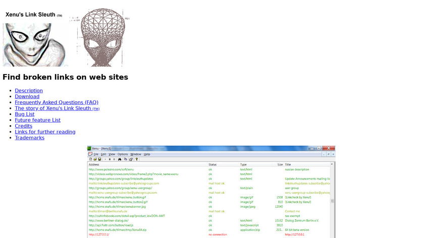 Xenu's Link Sleuth Landing Page