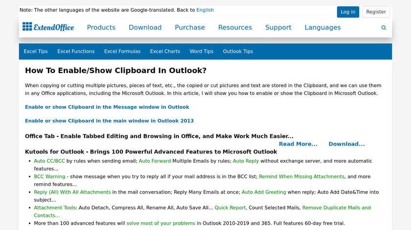 Clipboard for Microsoft Outlook Landing Page