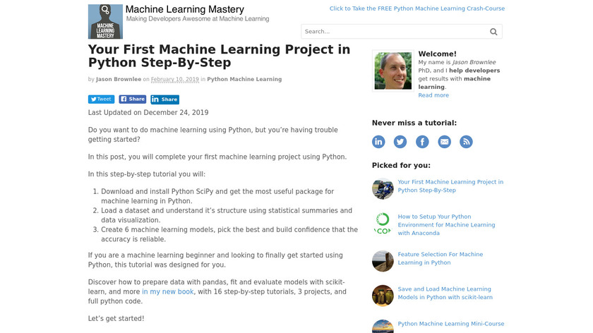 machine-learning in Python Landing Page