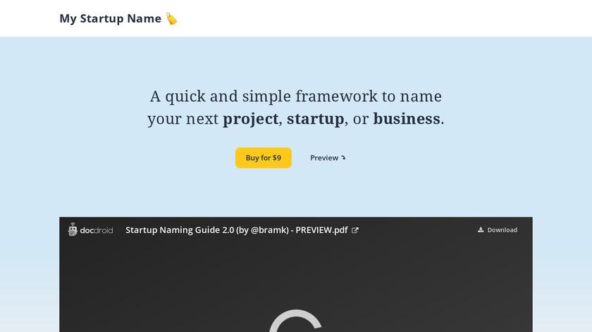 My Startup Name Landing Page