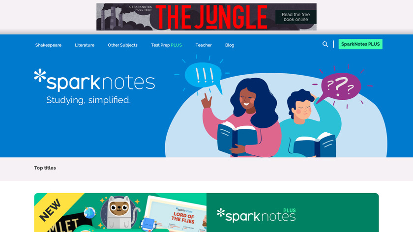 SparkNotes Landing Page