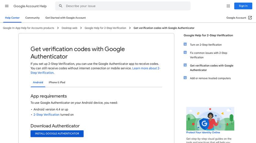 Google Authenticator Landing Page