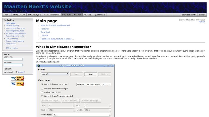 SimpleScreenRecorder Landing Page