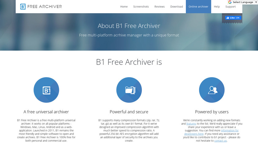 B1 Free Archiver Landing Page