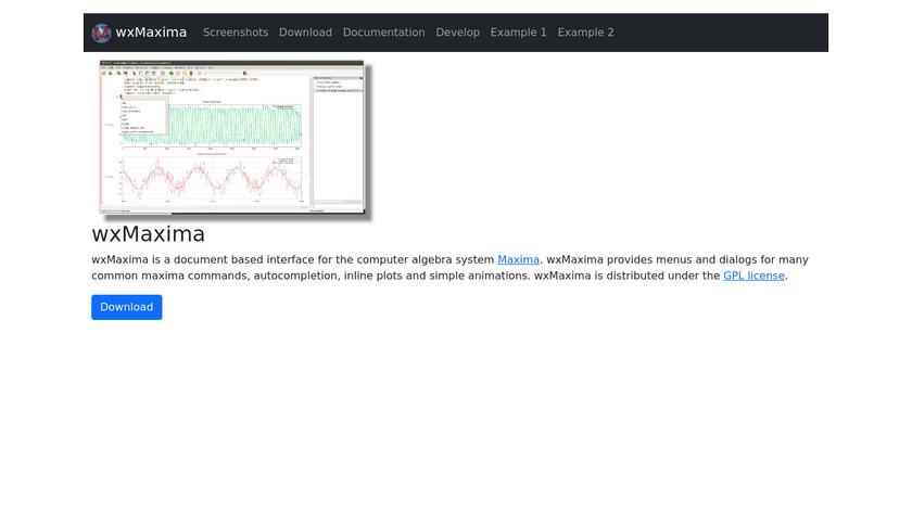 wxMaxima Landing Page