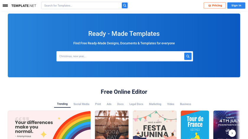 Template.net Landing Page