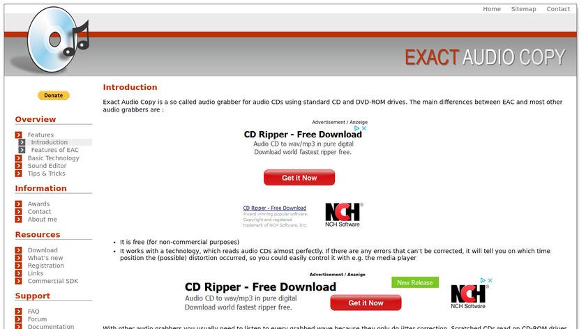 Exact Audio Copy Landing Page