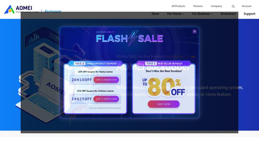 AOMEI Backupper Landing Page