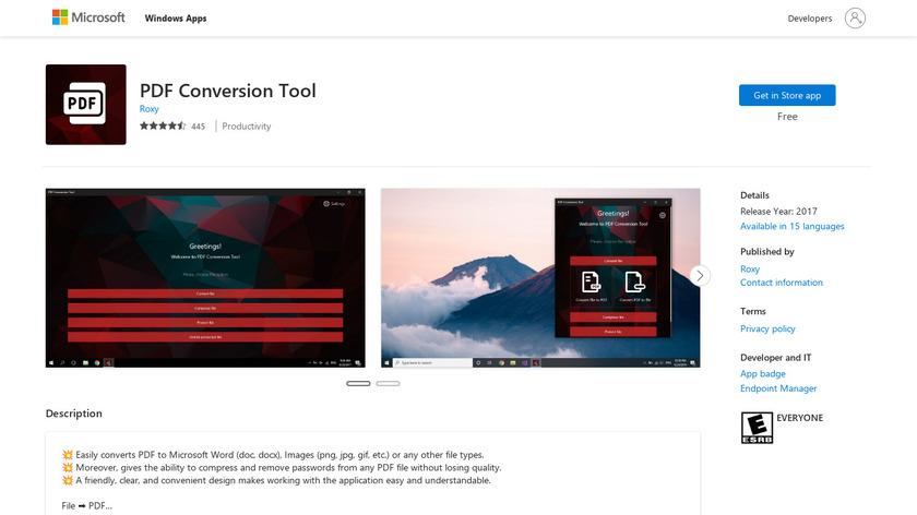 PDF Conversion Tool Landing Page