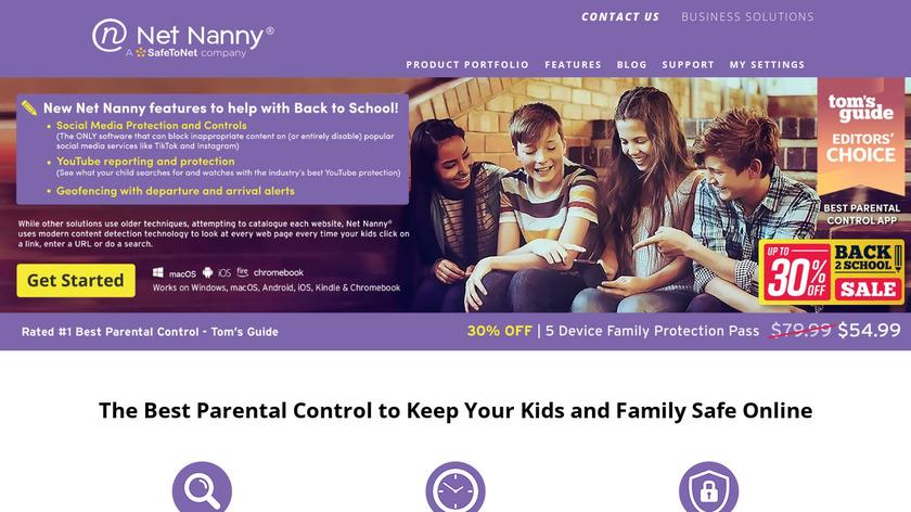 Net Nanny Landing Page