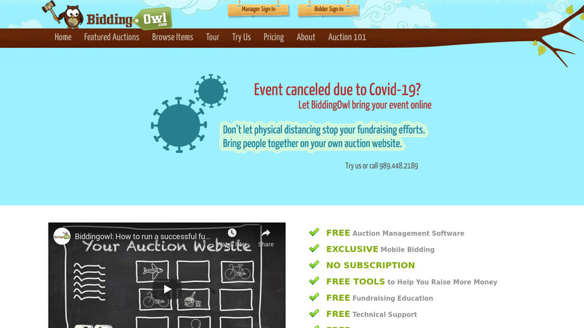 BiddingOwl.com Landing Page
