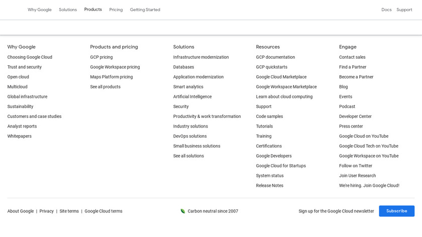 Google Cloud Storage Landing Page