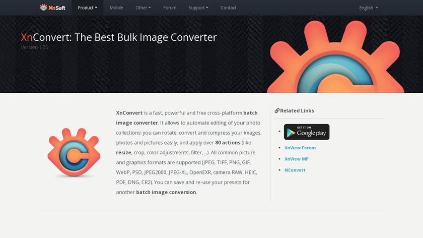 XnConvert Landing Page