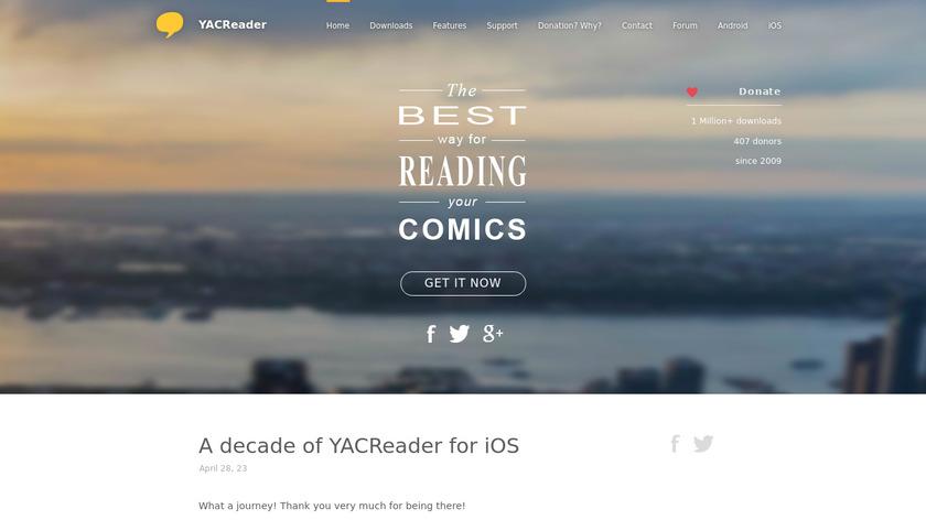 YACReader Landing Page