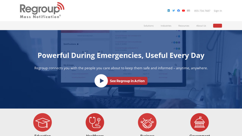 Regroup Mass Notification Landing Page