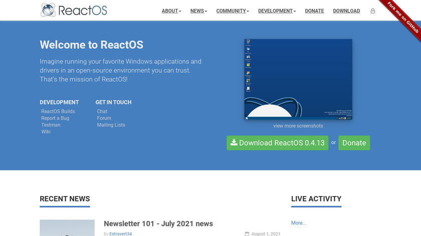 ReactOS Landing Page