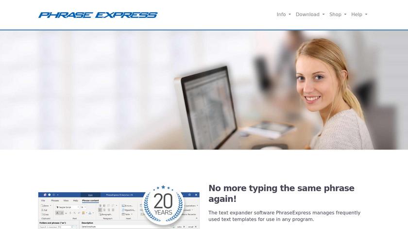PhraseExpress Landing Page