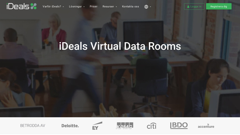 iDeals Virtual Data Room Landing Page