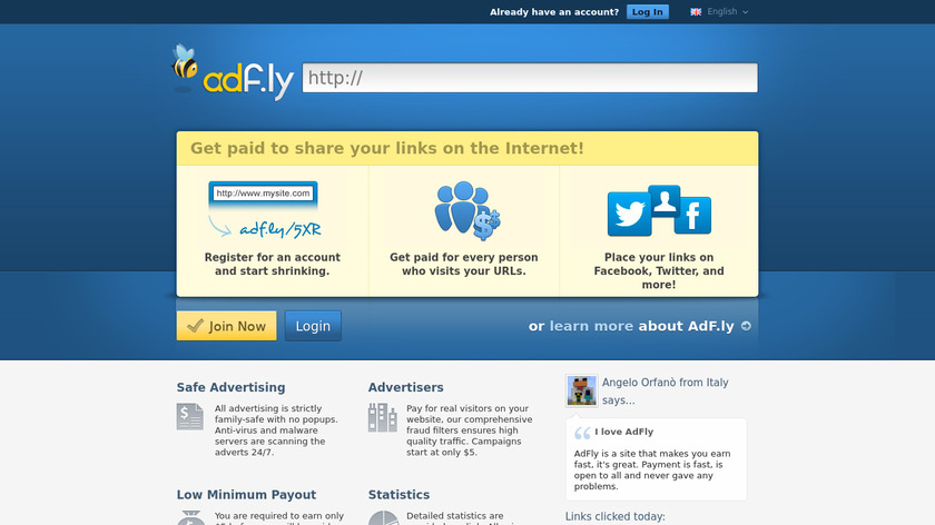 adf.ly Landing Page