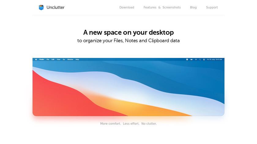Unclutter Landing Page