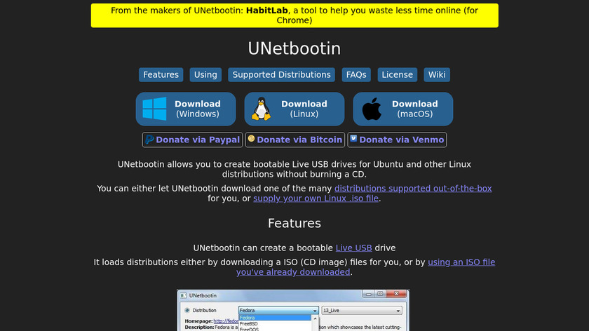 UNetbootin Landing Page