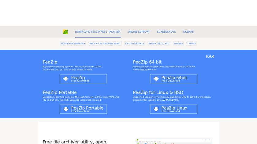 PeaZip Landing Page