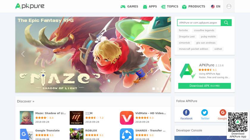 APK Pure Landing Page