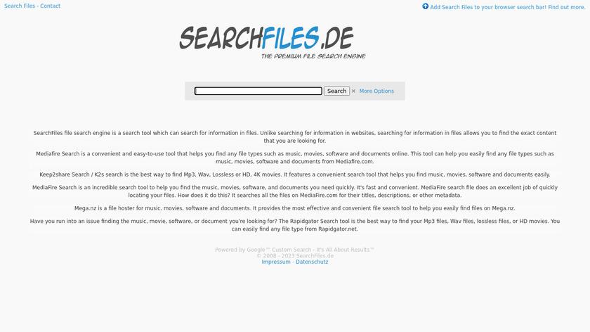 SearchFiles Landing Page