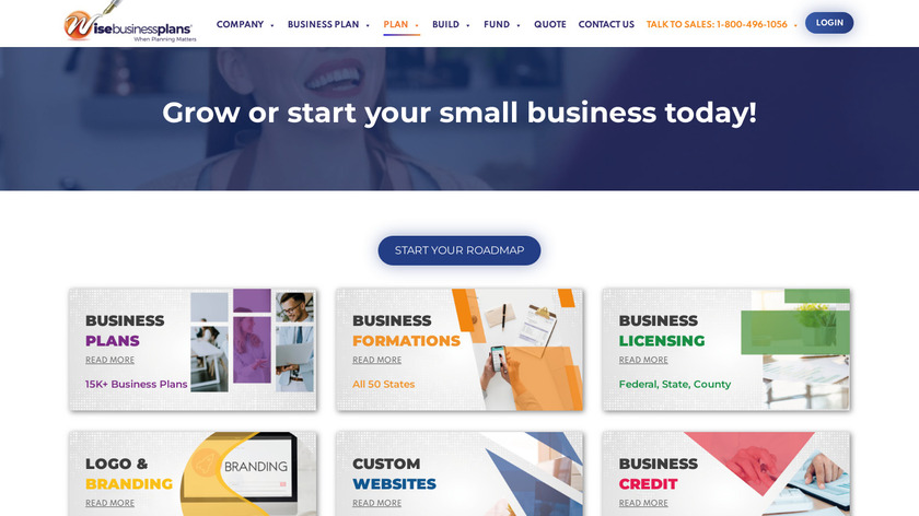 Wise Business Plans Landing Page