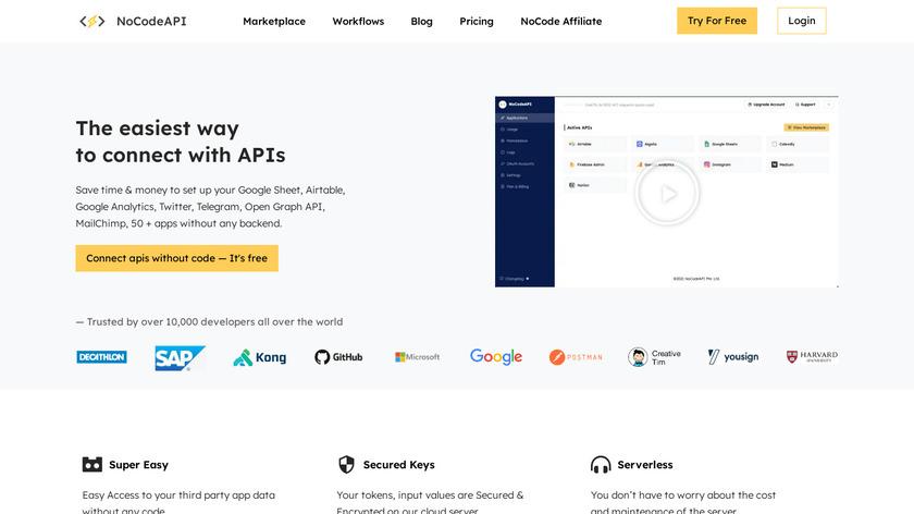 NoCodeAPI Landing Page
