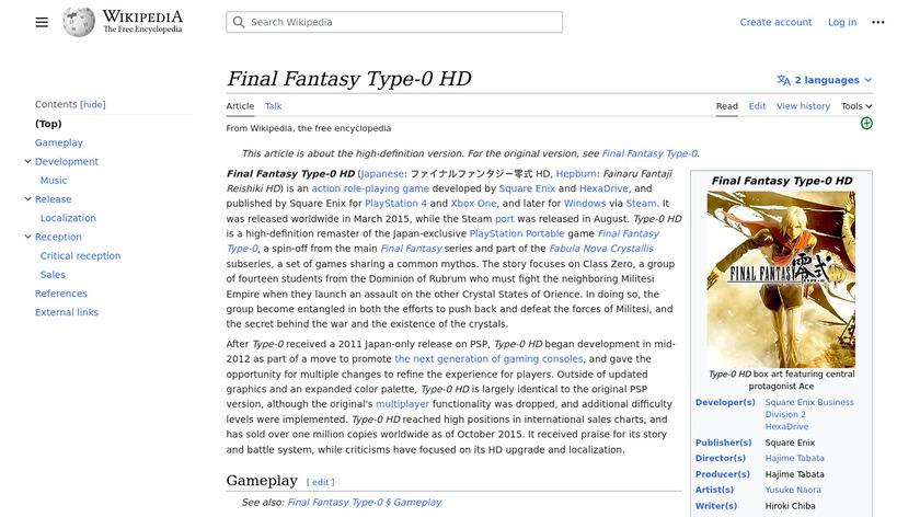 FINAL FANTASY TYPE-0 HD Landing Page