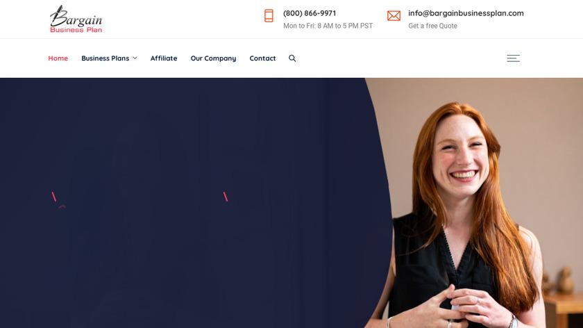 Bargain Business Plan Landing Page