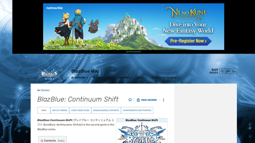 BlazBlue: Continuum Shift Landing Page
