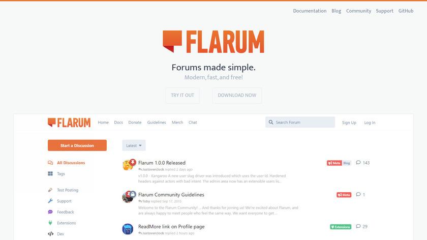 Flarum Landing Page