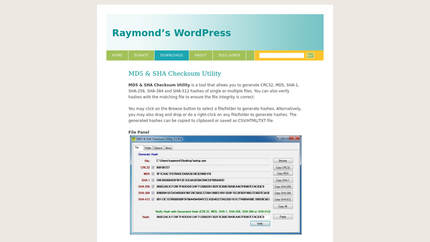 MD5 & SHA Checksum Utility Landing Page