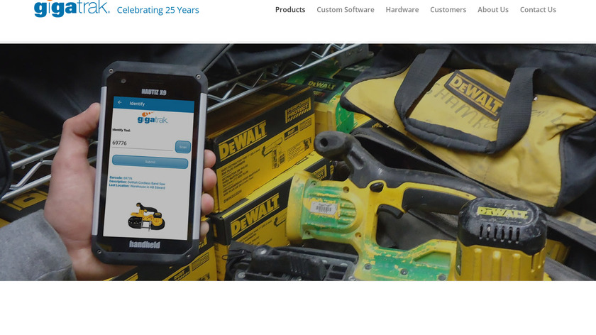 Gigatrack Tool Tracking System Landing Page
