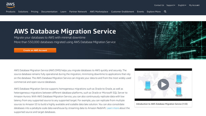 AWS Database Migration Service Landing Page
