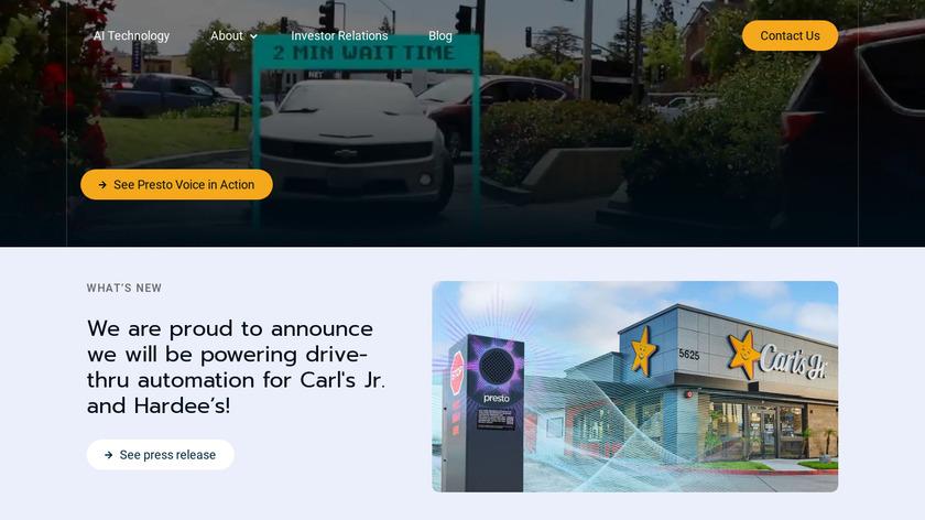 Presto Landing Page