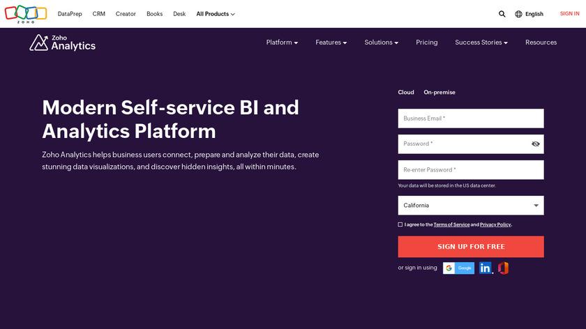 Zoho Analytics Landing Page