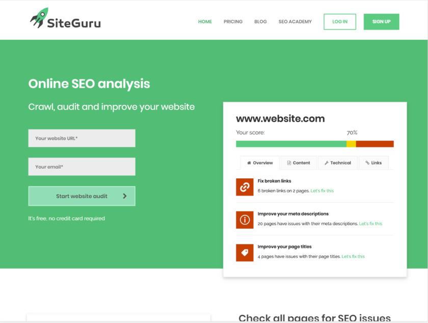 SiteGuru Landing Page