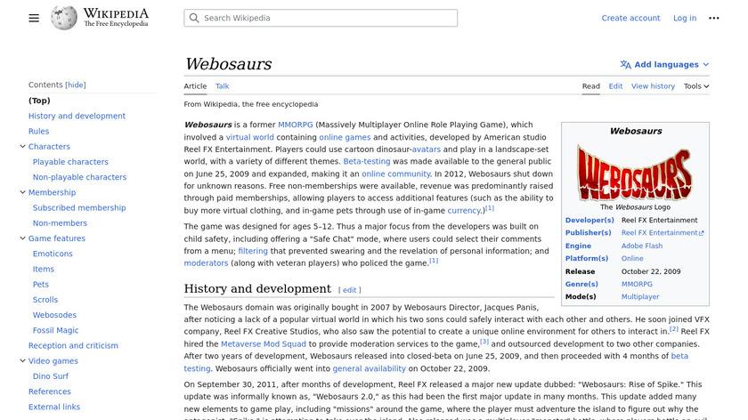 Webosaurs Landing Page